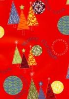 papier cadeau sapins sur fond rouge