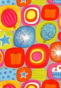 papier cadeau ballons et paquets